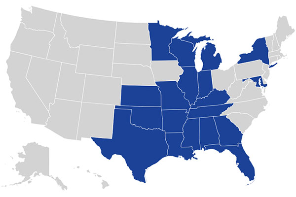 Map of the United States with states highlighted for Ascension locations